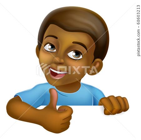 Black Boy Cartoon Child Kid Thumbs Up Sign 68603213