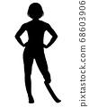 與假肢的女性賽跑者剪影 68603906