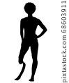 與假肢的女性賽跑者剪影 68603911