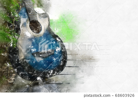吉他 水彩畫 水彩 68603926