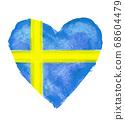 瑞典國旗與心符號 68604479