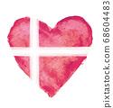 丹麥國旗與心符號 68604483