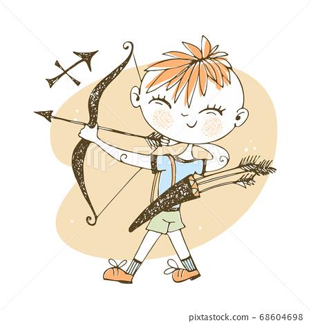Children's zodiac. Sagittarius sign. Boy with a 68604698