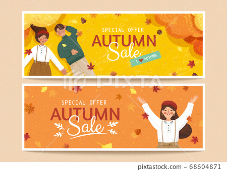Set of autumn sale banners 68604871