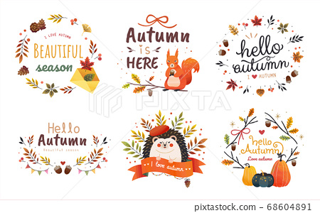Set of autumn sticker packs 68604891