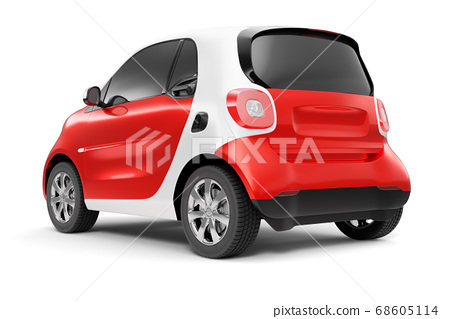 Back view of eco red concept car on white background 68605114
