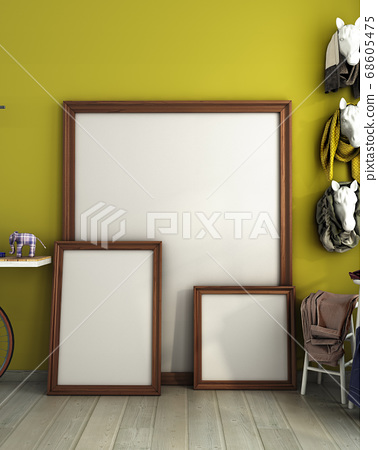 mock up different size poster frames in modern 68605475