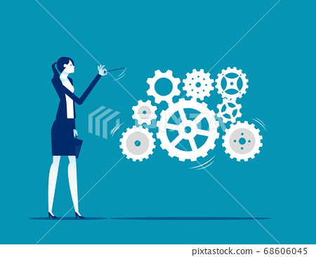 A business leader leading gears as a musical 68606045