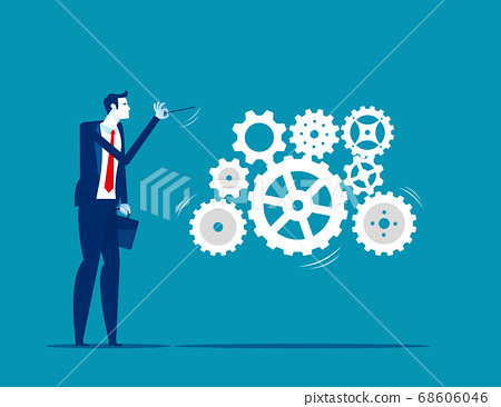A business leader leading gears as a musical 68606046
