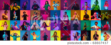 Collage of portraits of young people on multicolored background in neon 68607437