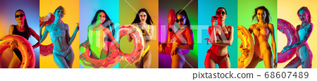 Collage of portraits of young beautiful girls on multicolored background in neon 68607489
