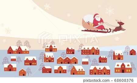 하늘을 달리는 산타 클로스와 순록 68608376