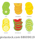 Set of Fruit Slices. Organic and healthy food isolated element Vector illustration. 68609619