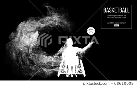 Abstract silhouette of a basketball player disabled on dark black background from particles, dust, smoke, steam. Basketball player performs throw a ball. Background can be changed to any other. Vector 68610008