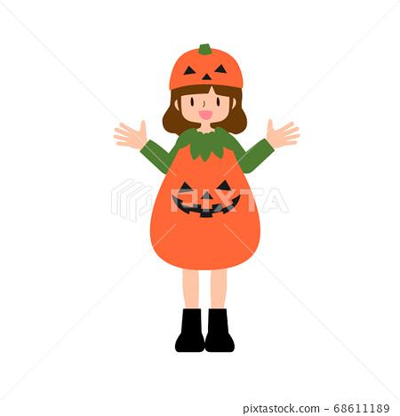 傑克-o-燈籠南瓜服裝的年輕女子 68611189