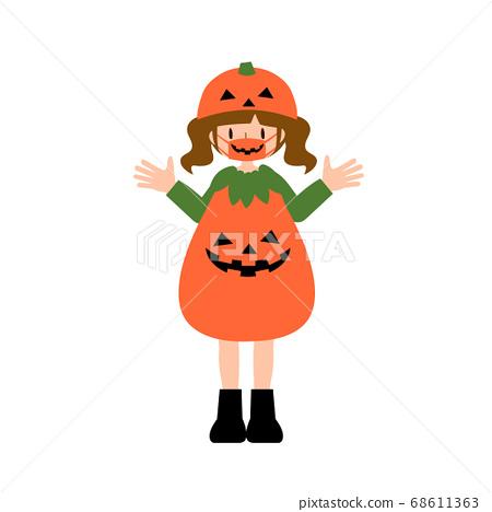 一個面具的少婦在南瓜服裝 68611363