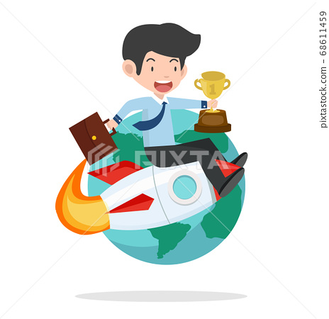 businessman on rocket with gold trophy 68611459