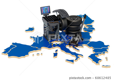 Tire Fitting and Auto Service in the EU concept. 68612485