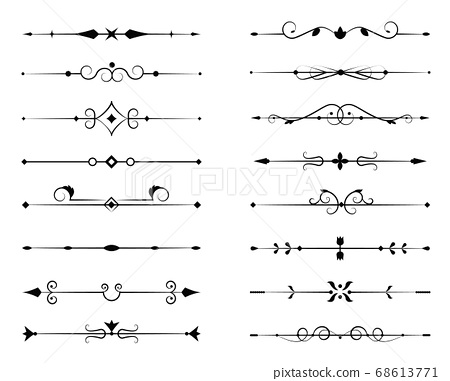Set of ornamental filigree flourishes and thin 68613771