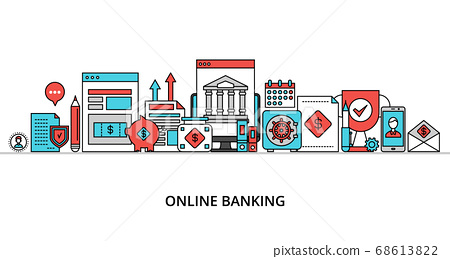 Concept of online banking, modern flat thin line 68613822