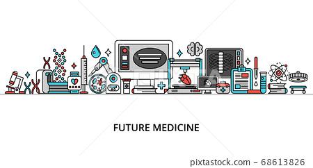 Concept of future medicine, modern flat line 68613826