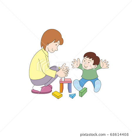 적목을하는 엄마와 아이 68614408