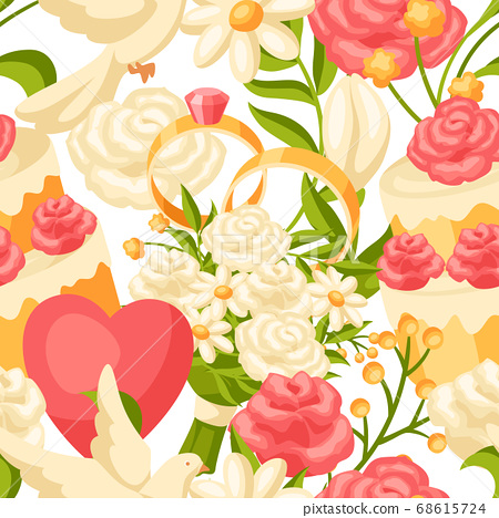 Wedding seamless pattern. Marriage background. 68615724