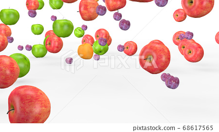 Fruit mix, animated fruit movement, 3D rendering 68617565
