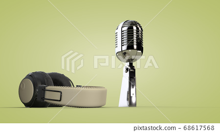 Studio audio headphones and microphone. 3D 68617568