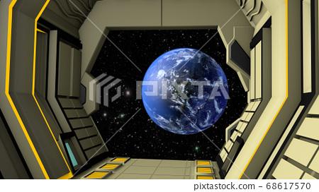 Space station corridor and spacewalk. 3D rendering 68617570