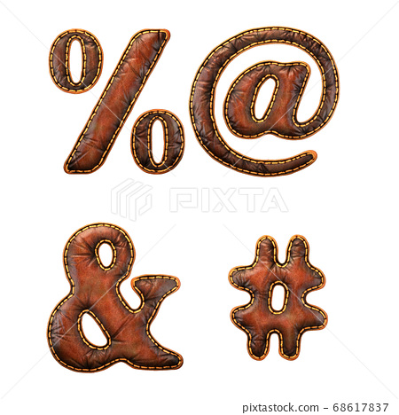 Set of symbols percent, at, ampersand and hash made of leather. 3D render font with skin texture isolated on white background. 68617837