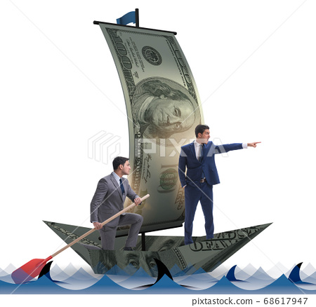 Businessman rowing on dollar boat in business financial concept 68617947
