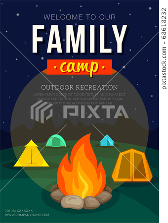 Poster with camping tent and campfire for family adventure camping. Vector illustration, flat style 68618232