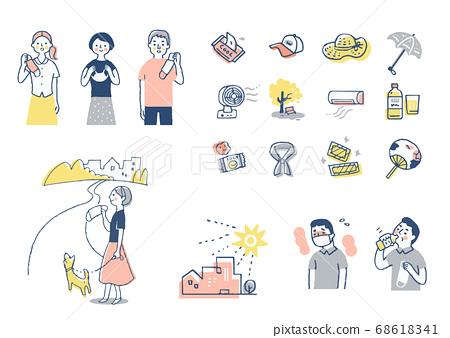 다양한 열사병 대책 상품과 인물 세트 68618341