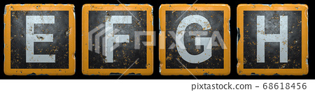 Public road sign orange and black color with a capital set of letters E, F, G, H in the center isolated on black background. 3d 68618456