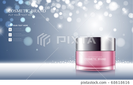 cosmetic product poster, bottle package design with moisturizer cream or liquid, sparkling background with glitter polka. 68618616