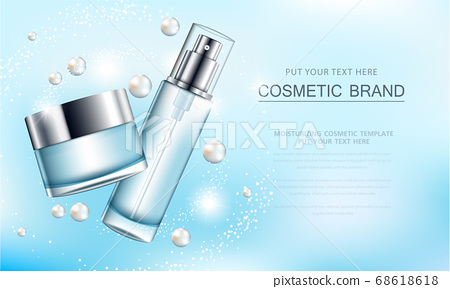 cosmetic product poster, bottle package design with moisturizer cream or liquid, sparkling background with glitter polka. 68618618