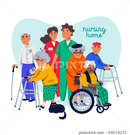 Nursing home concept. Group of elderly people and social workers on white background. Senior people healthcare assistance flat Vector illustration. 68619235