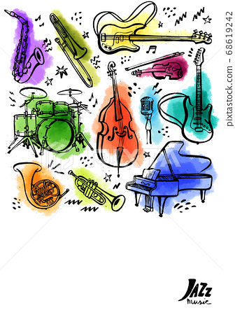 Hand drawn music instruments. Vertical banner or poster. Ink style vector illustration with watercolor stains on white background. 68619242