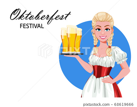 German girl in traditional costume on Oktoberfest 68619666
