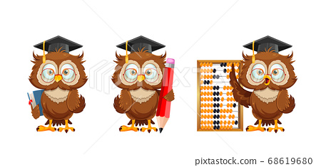 Cute wise owl. Funny owl, back to school concept 68619680