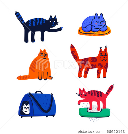 Pet grooming concept. Set of cartoon cats with different colored fur and markings standing sitting or walking. Cat care, grooming, hygiene, health. Pet shop, accessories. Flat style vector 68620148