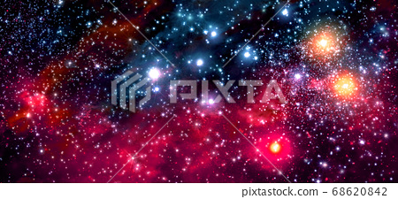 Fictitious colorful star field with nebulae, sparkling stars, suns and galaxies 68620842