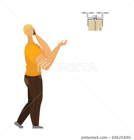 Man talking smartphone picks up the parcel 68620890