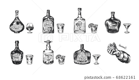 Bottles of tequila, liqueur and cognac. Set of Glass shots and goblets. Retro poster or banner 68622161
