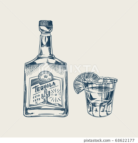 Bottle of tequila Glass shot with lime and label for retro poster or banner. Engraved hand drawn 68622177