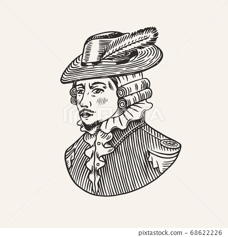 Duke or Antique Victorian Man with Feather Hat. Engraved hand drawn vintage sketch. Woodcut style 68622226