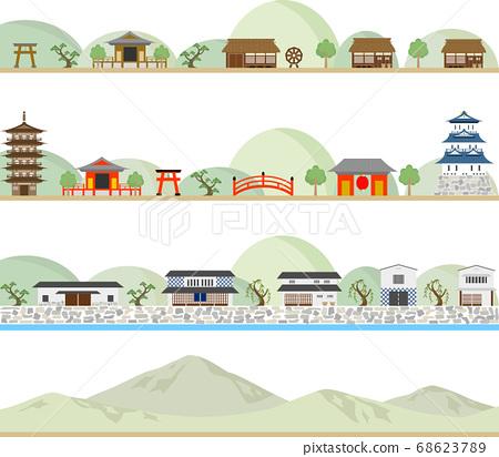 Japanese style townscape set 68623789