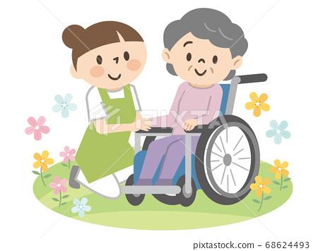 휠체어 노인 여성과 개호 직원 68624493