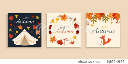 Autumn forest cover template 68624965
